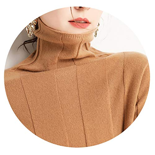 Cashmere Soft Turtleneck Sweaters for Women Warm Autumn Winter Fluffy Jumper,Tan,M