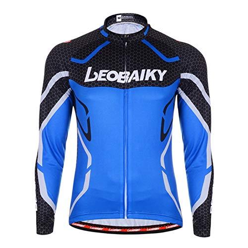Epinki Hombre Primavera Verano Ciclismo Camisa Azul para Al Aire Libre y Multi Deportes Equitación Camisas Tamaño S