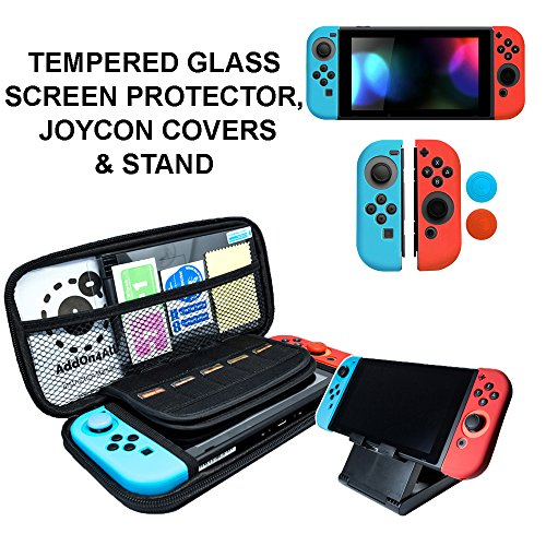 Nintendo Switch Accessories - Starter Kit, Stand, Glass Screen Protector, JoyCon Covers, 20 Game Holder | Protective Travel Carry Shell Pouch from AddOn4All