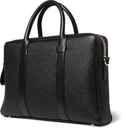 Tom Ford Men's Buckley Black Pebbled Leather Briefcase with Shoulder Strap