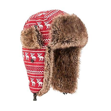 Amazon.com  DHmart Faux Fur Ear Flaps Bomber Hats for Men Women ... a5c4b66a943
