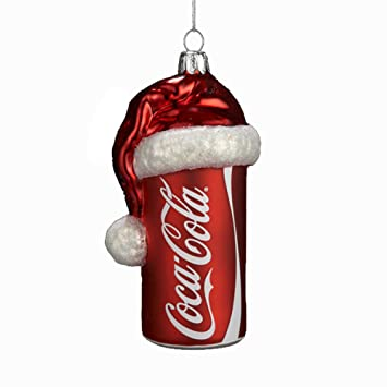 c82d0f9adddc5 Amazon.com  Kurt Adler 4-1 2-Inch Glass Coca-Cola Can with Santa Hat ...