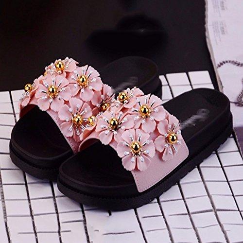 3 Verschönern Größen Hausschuh Verfügbar Pink Doppelreihe Gelee Von Farben Badeschlappen Badeschuhe Rutsch TINGTING Splice Anti Blumen Kunststoff 5 Kleinen Slipper Sandalen 0q06f
