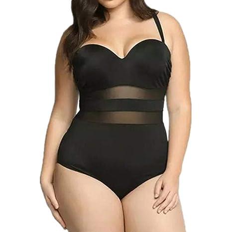 Damen Übergröße Push Up Badeanzug Bandage Bikini Monokini Bademode Strandkleidun