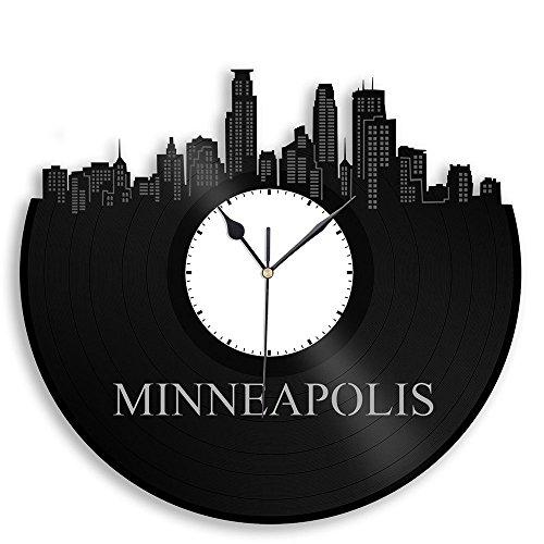 VinylShopUS - Minneapolis Vinyl Wall Clock Cityscape Souvenir