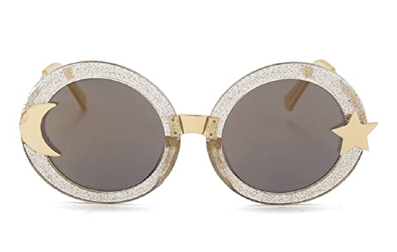4c9630c331bfe Chezi Women s Glitter Shell-effect Acetate Moon Star Accent Round Sunglasses  (gold