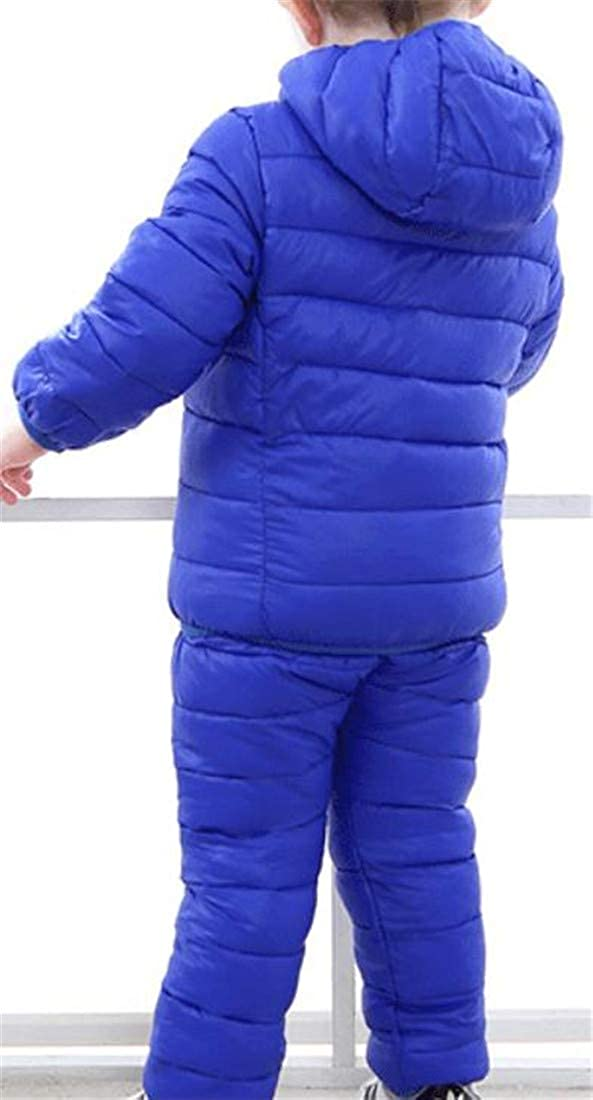 Joe Wenko Boy and Girl Light Warm Quilted Hooded Padded Down Jacket and Pants Outfit Set