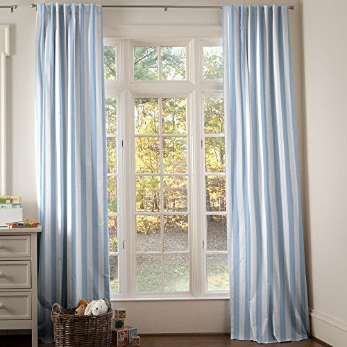 Carousel Designs Blue Giddy Stripe Drape Panel 96-Inch Length Standard Lining 42-Inch Width by Carousel Designs