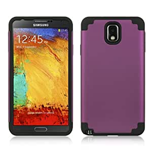 Dream Wireless Rubber Coating Hybrid Skin Case for Samsung Galaxy Note 3, Retail Packaging, Black/Purple