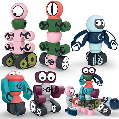 Hiveseen Magnetic Robots Building Toy 35 PCS Magnetic Blocks Stacking Robots SetStorage Box for Kids STEM Educational Toy Gift for 3 4 5 6 Years Old Boys and Girls