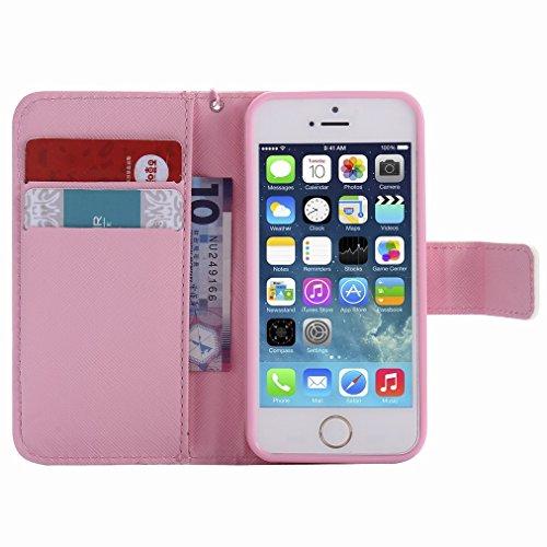 Custodia Apple iPhone 5s / iPhone SE Cover Case, Ougger Portafoglio PU Pelle Magnetico Stand Morbido Silicone Flip Bumper Protettivo Gomma Shell Borsa Custodie con Slot per Schede, Gatto Carino
