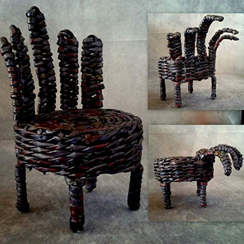 Gothic dollhouse furniture, zombie chair for dolls. Halloween creepy scary miniature seat. Witch doll horror -