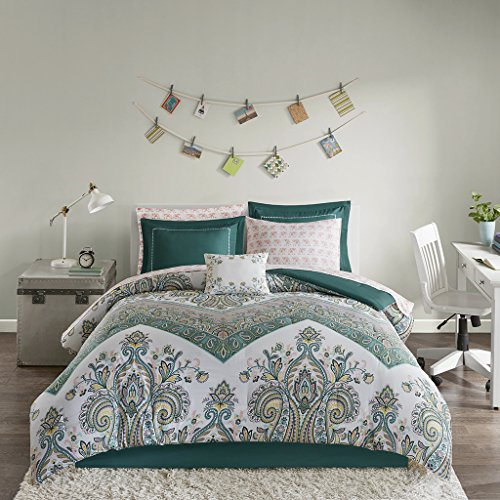 Intelligent Design Tulay Comforter Bag Reversible Solid Chevron Damask Floral Flower Boho Print Embroidered Sham with Animal Sheets Soft Microfiber Complete Bedding Set, Twin XL, Teal ()