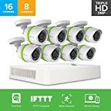 EZVIZ TRIPLE HD 3MP Outdoor Surveillance System, 8 Weatherproof HD Security Cameras, 16 Channel 2TB DVR Storage, 100ft Night Vision, Customizable Motion Detection