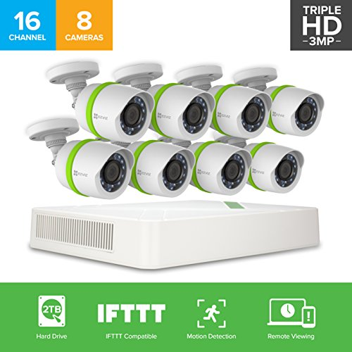 EZVIZ TRIPLE HD 3MP Outdoor Surveillance System, 8 Weatherproof HD Security Cameras, 16 Channel 2TB DVR Storage, 100ft Night Vision, Customizable Motion Detection