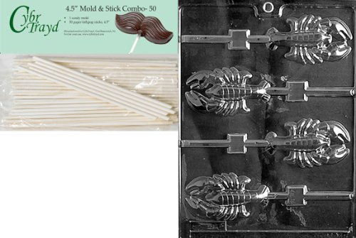 Cybrtrayd 45St50-N010 Lobster Lolly Nautical Chocolate Candy Mold with 50-Pack 4.5-Inch Lollipop ()