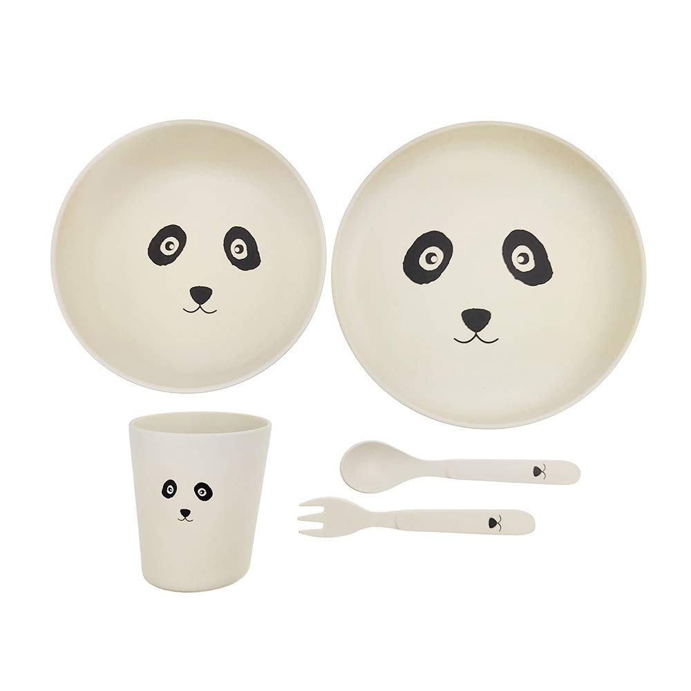 Hugmo Bamboo Toddler Plates and Bowls or Baby Feeding Set, Eco Friendly, Sustainable and Dishwasher Proof, 5pc Set (Panda) - 2 Plates, 1 Cup, 1 Fork and Spoon