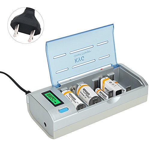 KYG General Battery Chargers for AA AAA C D 9V Ni-MH Ni-CD Rechargeable Batteries with Overheat Protection Fast Charger & Discharger LCD display and Auto Switch Off (Battery Not Included)