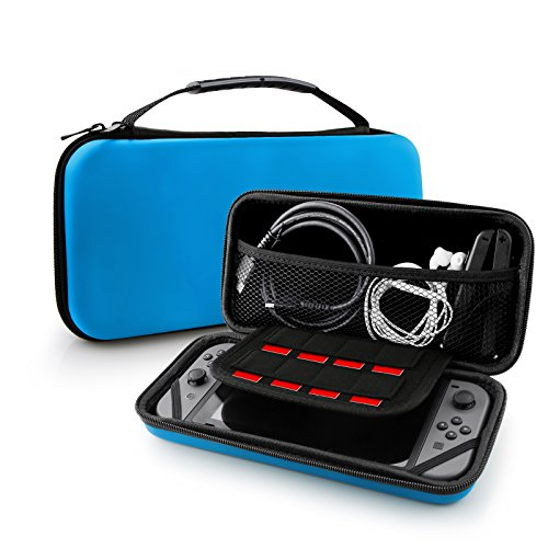 Nintendo Switch Case Bag, Swees Protective Hard Shell Carrying Accessories Game Traveler Deluxe Travel Case with 8 Game Cartridge Holders Double Zipper Design for Nintendo Switch Console, Blue