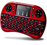 Rii i8+ Mini Wireless 2.4G Backlight Touchpad Keyboard with Mouse for PC/Mac/Android, Red