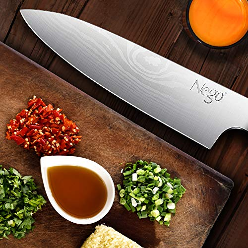 Chef Knife - Pro Chef knives 8 inch Cooking knife, German High Carbon Stainless Steel Razor Sharp Blade Stain Resistant, Best Choice for Restaurant and Home Kitchen by Nego (Image #3)