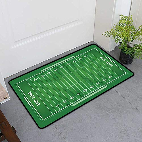 - TableCovers&Home Magic Non Slip Door Mat, Football Non-Slip Rugs for Kids Room, Field of The Game Strategy Tactics End Zone Touchdown Sports Competition Theme (Green White, H36 x W60)