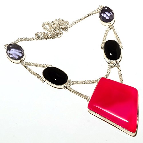 Exotic! Handmade Jewelry! Pink Botswana Agate, Black Onyx Sterling Silver Overlay Necklace 17-18