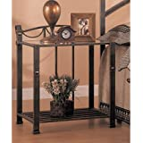 Coaster Home Furnishings 300022 Whittier Casual Iron Nightstand with Glass Shelf, Antique Brown