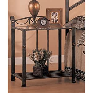 Coaster home furnishings 300022 whittier casual iron nightstand with glass shelf Home furniture on amazon