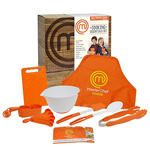 Aprons Cooking Kids (MasterChef Junior Cooking Essentials Set - 9 Pc. Kit Includes Real Cookware for Kids, Recipes and Apron)