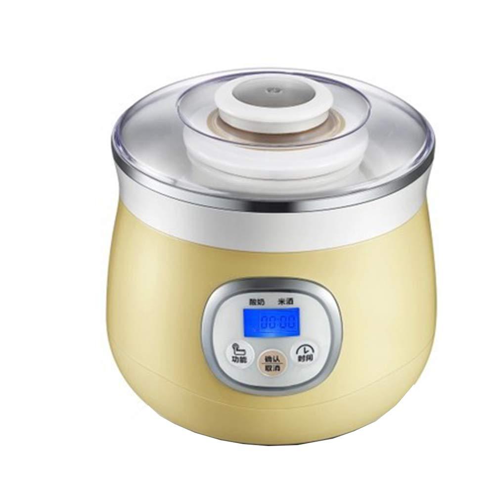 ヨーグルトメーカーの冷凍ヨーグルトマシンは、ガラス瓶、1L容量の自動デジタルヨーグルトマシン - 電気イージーヨーグルトマシンに配置することができます  yellow B07KZSRTTZ