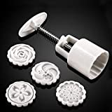 Hand pressing 50g Round Moon Cake Mold Belt 4 Stamps Cookie Cutter Pastry Moon Cake Molds