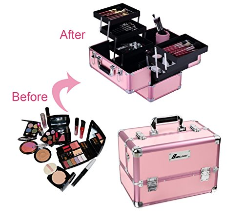 Makeup Train Case? 14 x 10 x 9 Aluminum Cosmetic Box, 6 Trays Professional Large Makeup Box Organizer with Shoulder Strap, Lockable Make Up Artist Organizer Kit Include 2 Keys (Pink)
