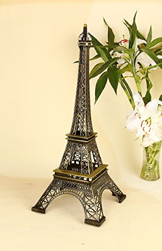 Christmas Gift Vintage Metal Eiffel Tower Statue Figurine Replica Centerpiece Room Table Décor Jewelry Stand Holder French Souvenir (12.5 Inches Tall)