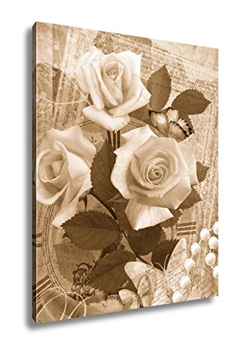 Ashley Canvas Postcard Flower Romantic Beautiful Congratulations Card Design With Roses, Wall Art Home Decor, Ready to Hang, Sepia, 20x16, AG6612841 by Ashley Canvas