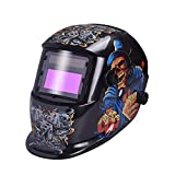 Nuzamas Solar Powered Auto Darkening Welding Helmet Mask Weld Face Protection for Arc Tig Mig Grinding Plasma Cutting with Adjustable Shade Range DIN4/9-13 UV/IV protection DIN16 Dice on Fire