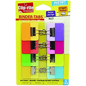 Clip-rite Binder-Tabs Filing Binders, Small, Solid, Assorted, 8-Piece (CRT-049)