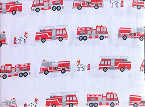 Authentic Kids 4pc Full Sheet Set Red Fire Trucks Ladders on White Dogs Dalmatians Hydrant Double Bed Cotton Sateen