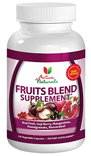 Activa Naturals Fruit Supplement with Blend of Acai, Pomegranate, Mangosteen, Goji, Noni & Berry Fruits Supplements - 120 Veg. Capsules