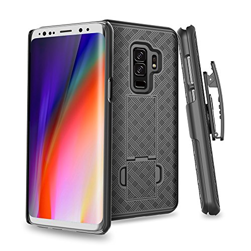 S9 Plus Case, Moona Shell Holster Combo Case for Samsung Galaxy S9 Plus Case with Kickstand & Belt Clip '3 Year Warranty' Galaxy S9 Plus Belt Clip Case, Stylish Thin Hard Galaxy S9 Plus Holster Case ()
