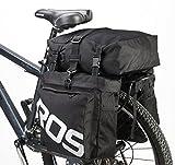 ArcEnCiel Bicycle Cycling Bike 3 in 1 Water-Resistant Pannier Bag Rear Pack Shoulder Bag -Rain Cover Included (Black)