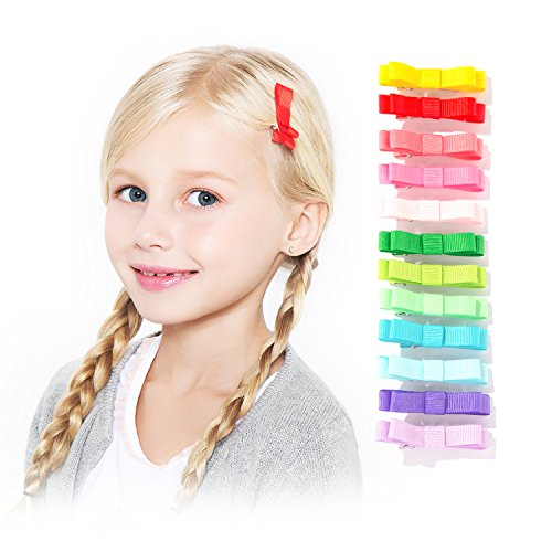 HBY8482; 24 Pics: Girls Baby Toddler Ribbon Mini Hair Bow Snap Clips, Barrettes Hair Clip Set