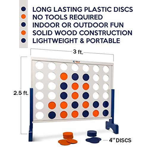 51%2BPlHy32DL - Giant 4 in A Row, 4 to Score with Carrying Bag - Premium Wooden Four Connect Game Set in 3' White Wood by Rally & Roar - Oversized Family Outdoor Party Games for Backyard, Lawn, Parties, Bar Game