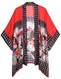 WEIYAN Women's Summer Tops Loose Chiffon Kimono Cardigan Blouse (Big Flower, M)
