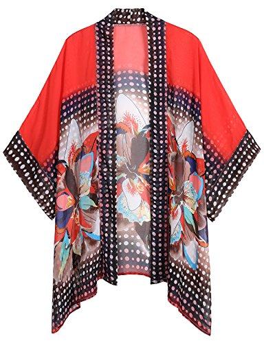 WEIYAN Women's Summer Tops Loose Chiffon Kimono Cardigan Blouse (Big Flower, M) by WEIYAN (Image #1)