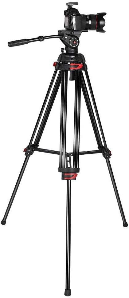 Jarchii Tripod Stand Professional DV Video Camera Aluminum Adjustable Tripod Stand with Fluid Pan Head and Portable Bag for Convenient Storage and Transportation