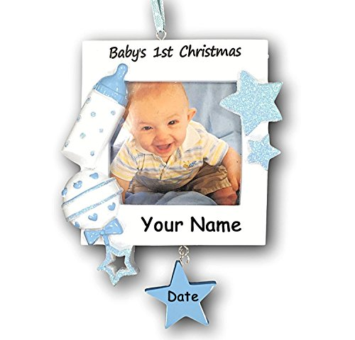 Personalized Baby Boy's First Christmas Glittered Christmas Ornament with Picture Frame with Name and Date - 3.75 Inches by PolarX