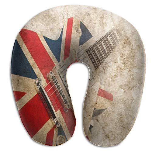 Vintage Guitar British Flag Memory Foam Travel Neck Pillow Portable Cervical U Pillow Camping