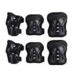 Protective Gear,children Knee Elbow Pads and Wrist Guard Kid's Pad Set for Inline Roller Skating Biking Skateboard Scooter (Black, Child)