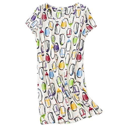 ENJOYNIGHT Women's Sleepwear Cotton Sleep Tee Short Sleeves Print Sleepshirt (X-Large, Penguin)